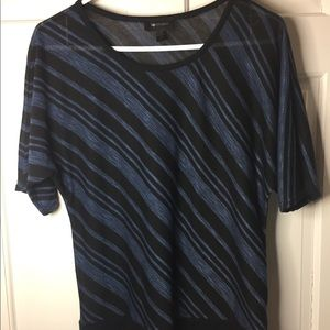 AB Studio - stretch knit/sheer black/blue blouse
